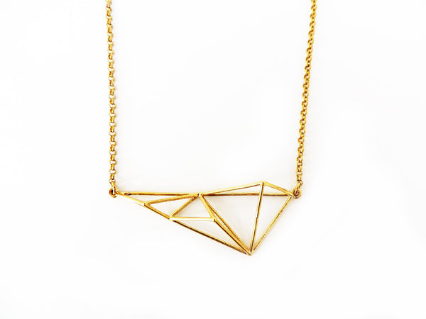 Crystallized Long Triangle Necklace
