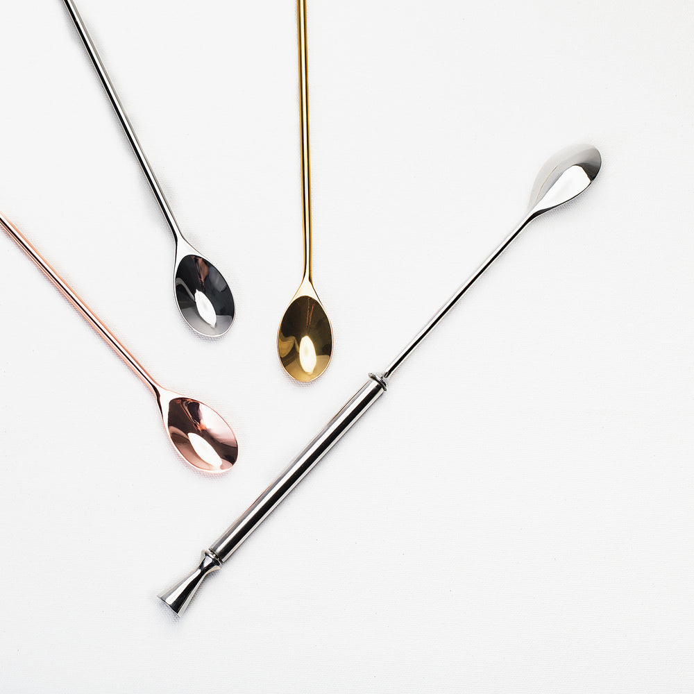 Wingman and Aero Cocktail Spoon by Standard Spoon Barware. Stainless Steel, spinning / swivel / self-stirring barspoon and straight-handled barspoons in stainless steel, copper, and gold. Lifetime Guarantee.