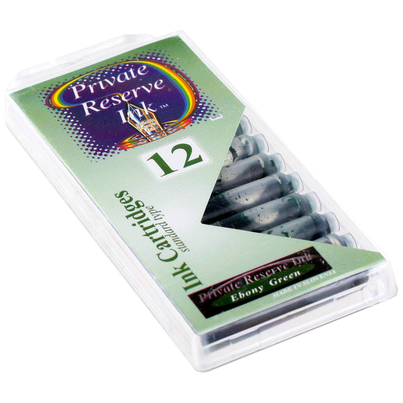 Private Reserve Ink Short International Ink Cartridges, Pack of 12 - Ebony Green