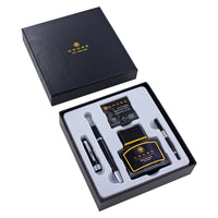 Cross Bailey Black Lacquer Fountain Pen with Stainless Steel Medium Nib in the open Cross Gift Box set