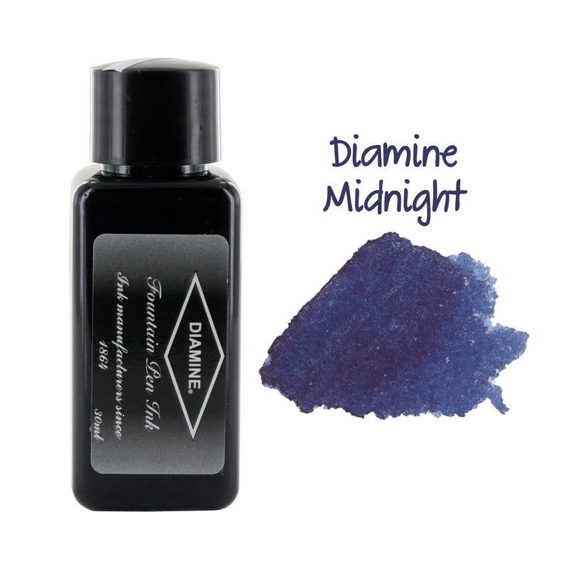 Diamine Fountain Pen Bottled Ink, 30ml - Midnight