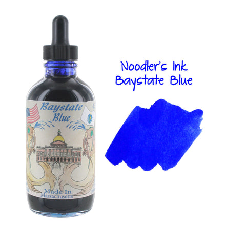 Noodler's Ink Fountain Pen Bottled Ink w/ Eyedropper, 4.5 oz. w/ Free Pen - Baystate Blue