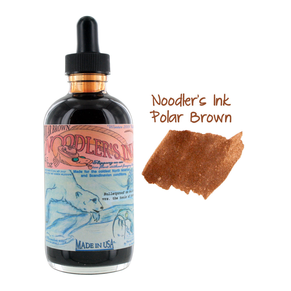 Noodler's Ink Fountain Pen Bottled Ink w/ Eyedropper, 4.5 oz. w/ Free Pen - Polar Brown