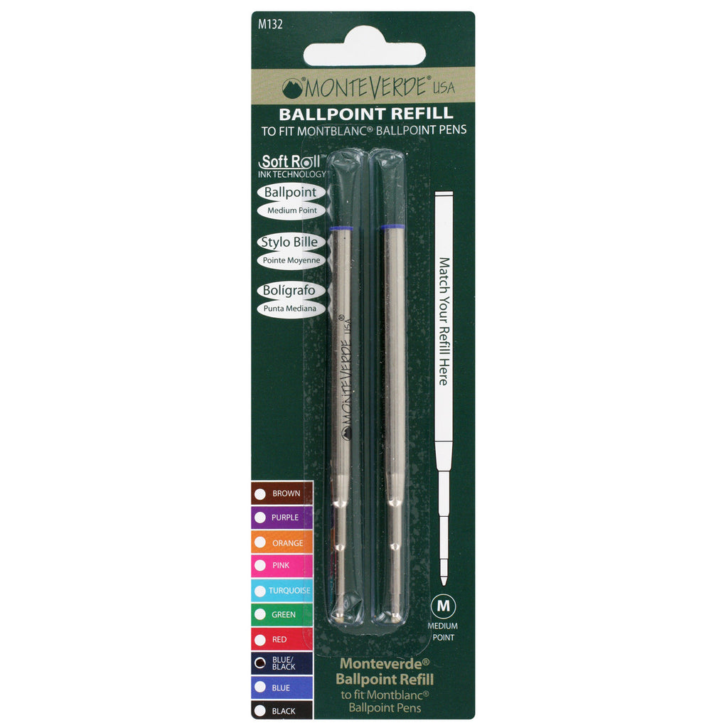 Mont Blanc Ball Point Pen Refills by Monteverde, Medium Point, Pack of 2 - Blue/Black Ink