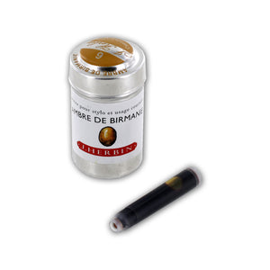 J. Herbin La Perle des Encres Fountain Pen Ink Cartridge Ambre De Birmani 6/Pack