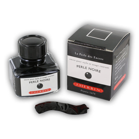 J. Herbin La Perle des Encres Fountain Pen Ink, Bottled, 30 ml, Perle Noire