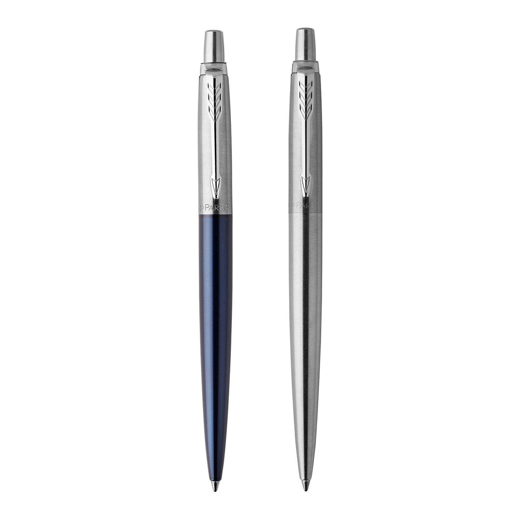 Parker Jotter Duo Ballpoint Pen, Stainless Steel and Royal Blue