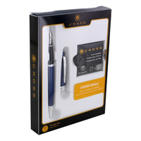 Cross Bailey Blue Lacquer Fountain Pen with Medium Nib in gift box with 6 Black Ink Fountain Pen Ink Cartridges