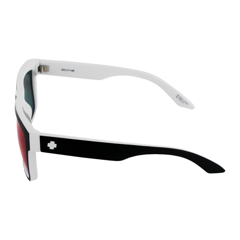 Spy Optic Discord Square Black/White Frame Sunglasses - Grey with Blue Mirror