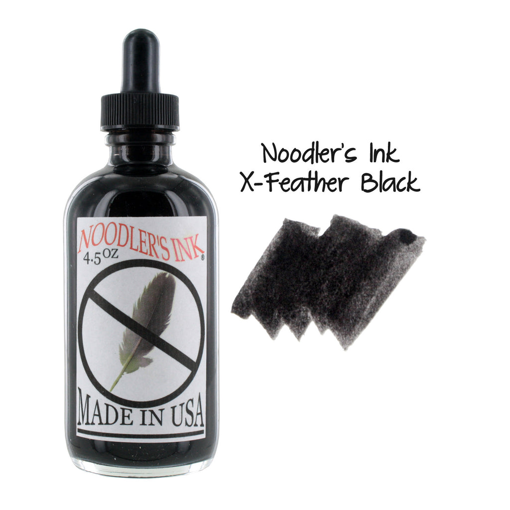 Noodler's Ink Fountain Pen Bottled Ink w/ Eyedropper, 4.5 oz. w/ Free Pen - X-Feather Black