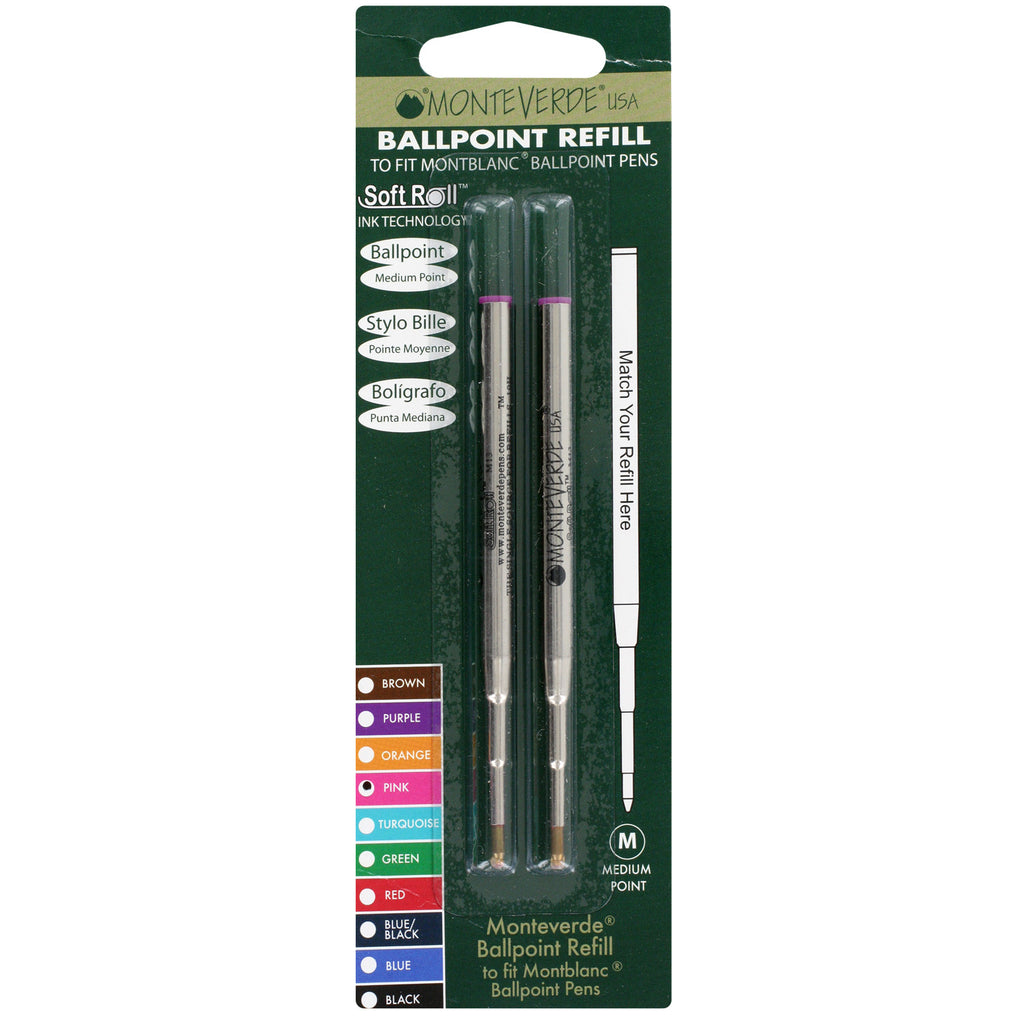 Mont Blanc Ball Point Pen Refills by Monteverde, Medium Point, Pack of 2 - Pink Ink