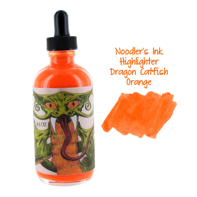 Noodler's Ink Fountain Pen Bottled Ink w/ Eyedropper, 4.5 oz. w/ Free Pen - Highlighter Dragon Catfish Orange