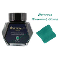 Waterman Harmonious Green Fountain Pen Bottled Ink For Fountain Pens next to ink swab of bottled fountain pen ink.