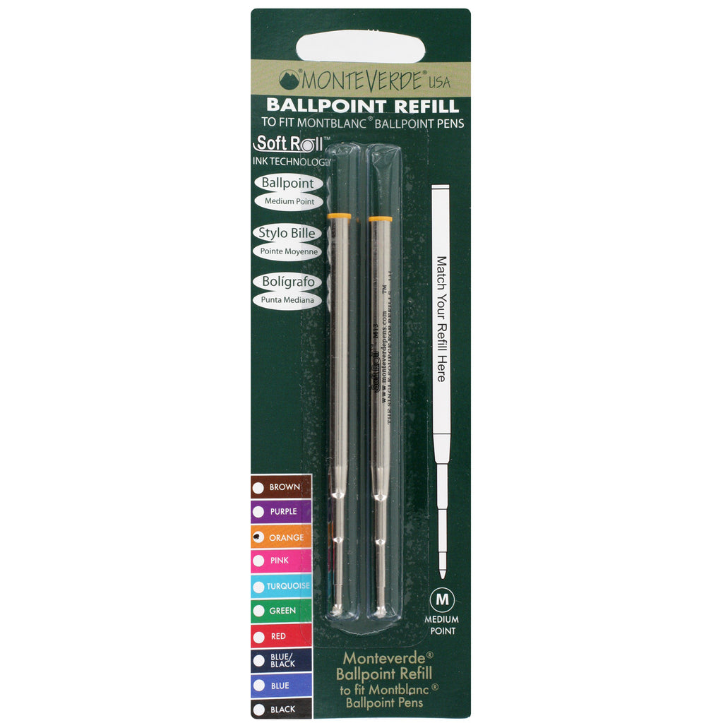 Mont Blanc Ball Point Pen Refills by Monteverde, Medium Point, Pack of 2 - Orange Ink
