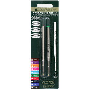 Mont Blanc Ball Point Pen Refills by Monteverde, Medium Point, Pack of 2 - Green Ink