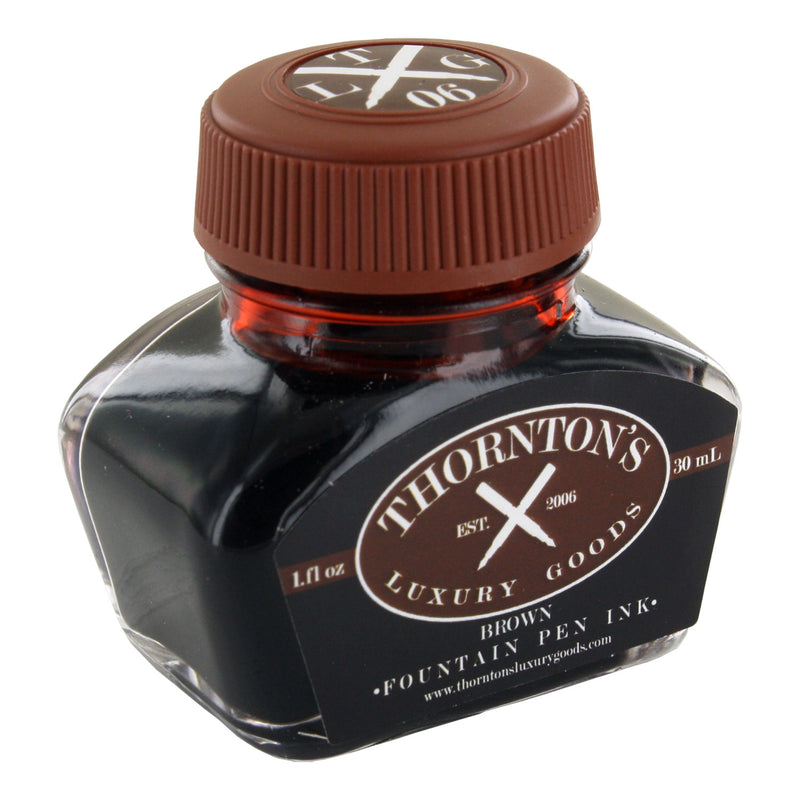 Thornton's Luxury Goods Fountain Pen Ink Bottle, 30ml - Brown