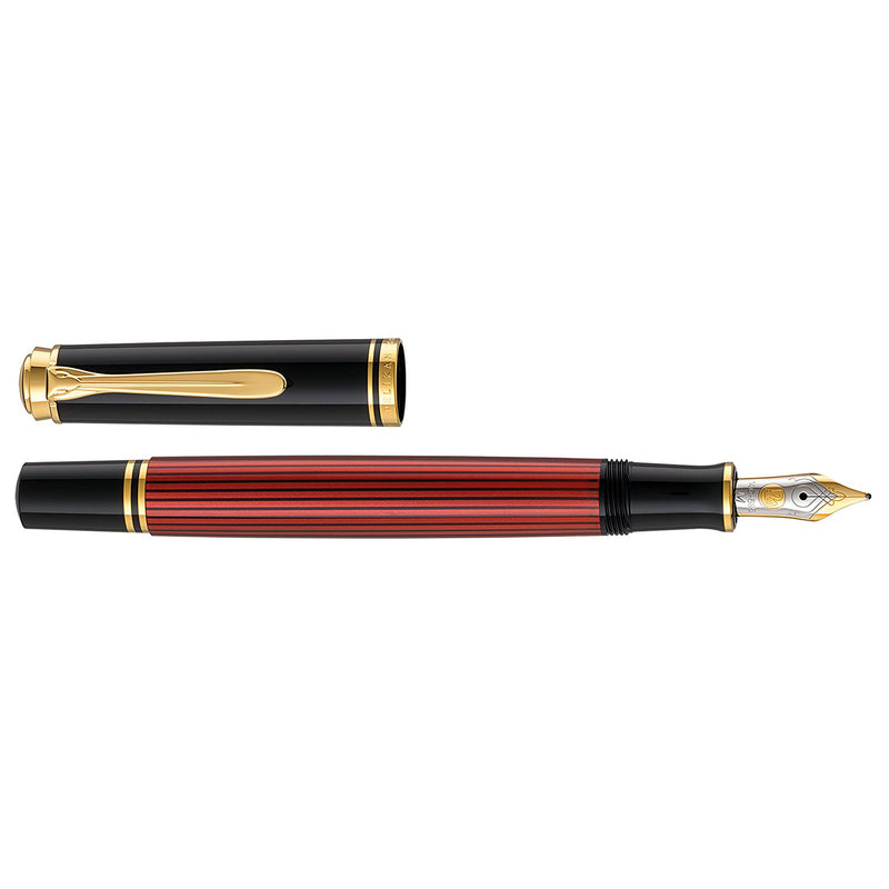 Pelikan Souveran M600 Black/Red GT Fountain Pen - Medium Nib
