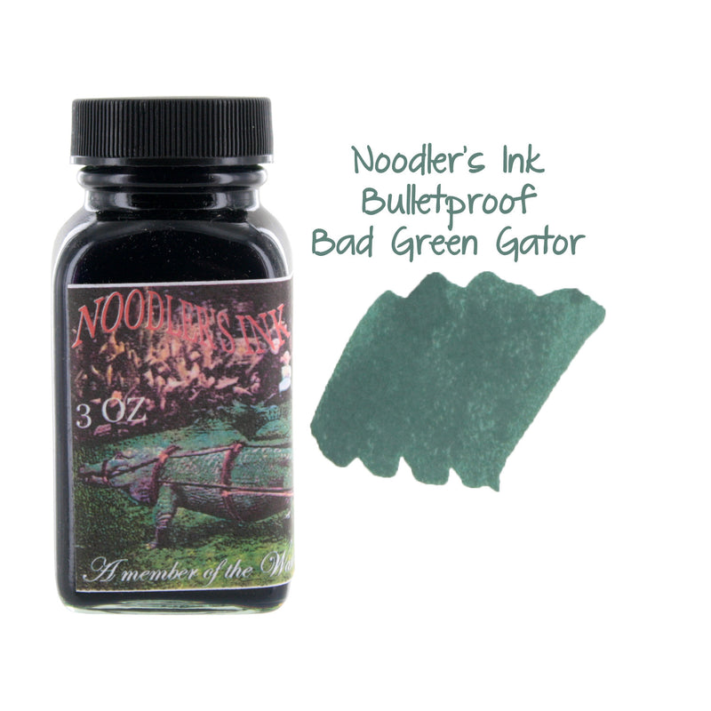 Noodler's Ink Fountain Pen Bottled Ink, 3oz - Bulletproof Bad Green Gator