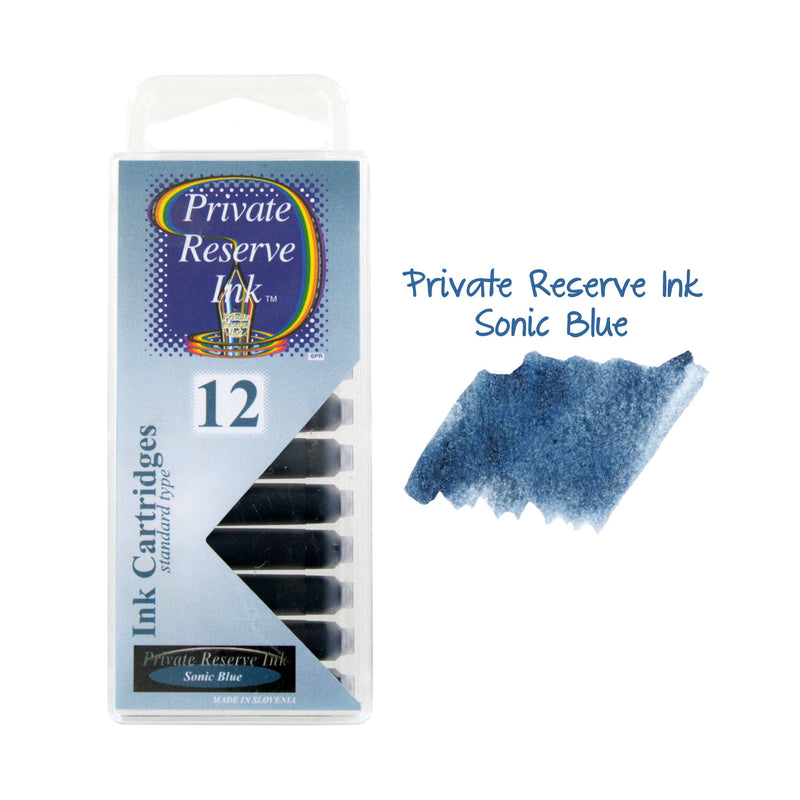 Private Reserve Ink Short International Ink Cartridges, Pack of 12 - Sonic Blue