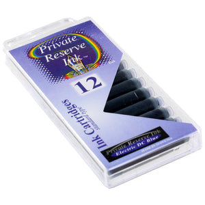 Private Reserve Ink Short International Ink Cartridges, Pack of 12 - Electric DC Blue