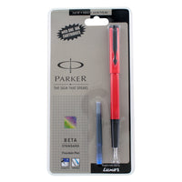 Parker Beta Standard Red with Black Trim Fountain Pen - Fine Nib