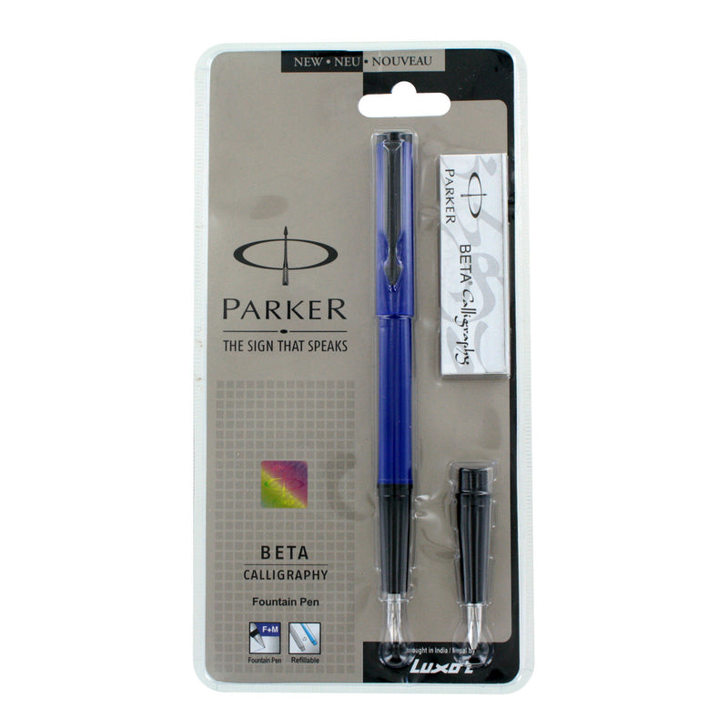 Parker Beta Standard Blue with Black Trim Calligraphy Fountain Pen - Fine & Medium Nib (9000017363)