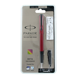 Parker Beta Standard Red with Black Trim Calligraphy Fountain Pen - Fine & Medium Nib (9000017365)