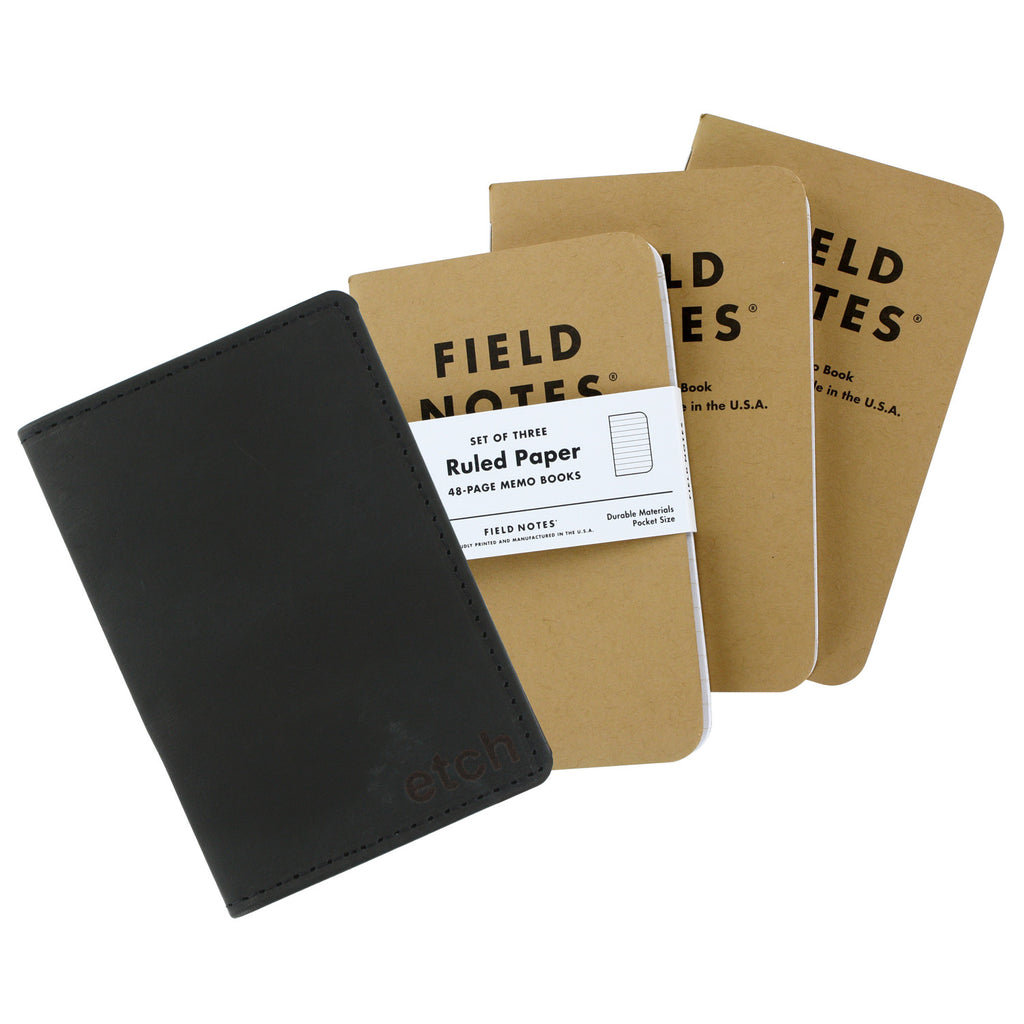 Allegory Etch Field Notes Memo Book Leather Journal Cover with 3 Memo Books - Black