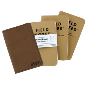 Allegory Etch Field Notes Memo Book Leather Journal Cover with 3 Memo Books - Brown