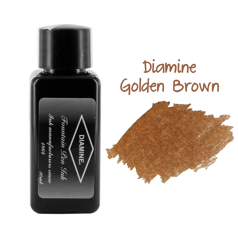 Diamine Fountain Pen Bottled Ink, 30ml - Golden Brown