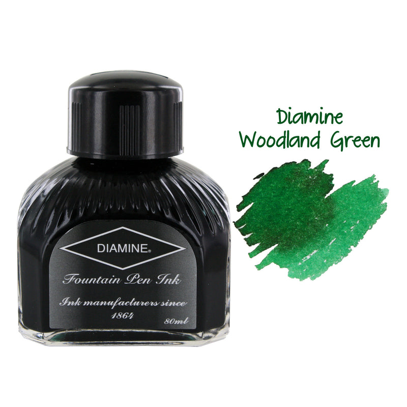 Diamine Fountain Pen Bottled Ink, 80ml - Woodland Green