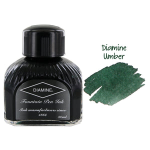 Diamine Fountain Pen Bottled Ink, 80ml - Umber (Green)