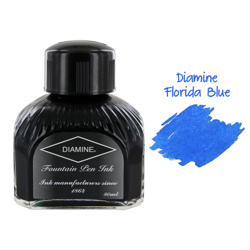 Diamine Fountain Pen Bottled Ink, 80ml - Florida Blue