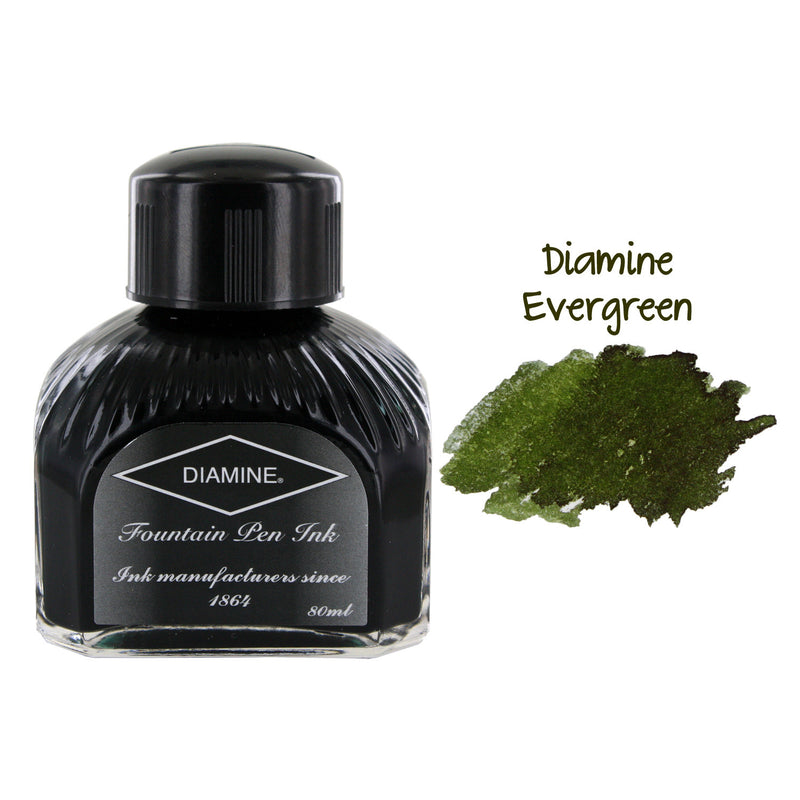 Diamine Fountain Pen Bottled Ink, 80ml - Evergreen