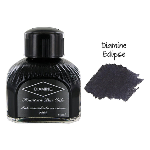 Diamine Fountain Pen Bottled Ink, 80ml - Eclipse (Black)
