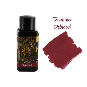 Diamine 30ml Bottled Fountain Pen next to Oxblood ink swab.