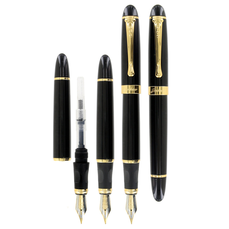 JinHao X450 Medium #6 Nib Fountain Pen - Black Lacquer GT
