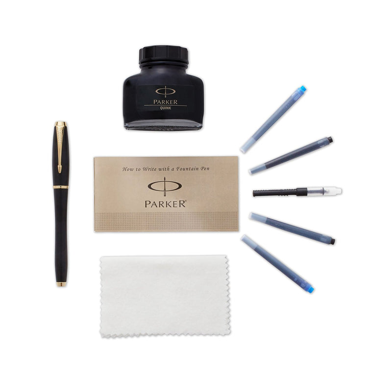 Parker Urban Matte Black Gold Trim Fountain Pen Kit - Medium Nib
