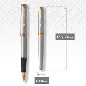 Parker Sonnet Fountain Pen, Stainless Steel with Gold Trim, Fine Nib (1931504)