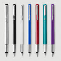 Parker Vector Fountain Pen, Stainless Steel with Chrome Trim, Medium Nib, Blue Ink, Gift Box