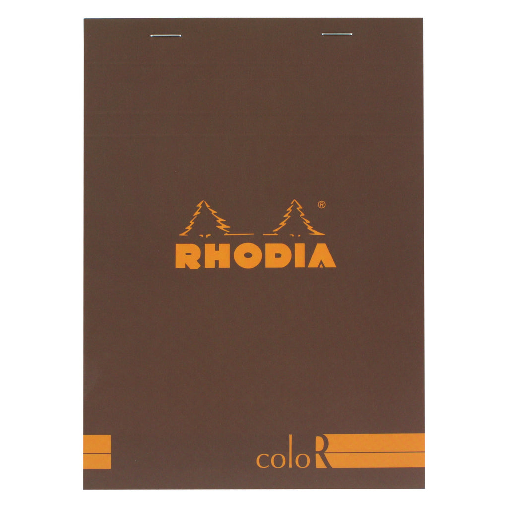 Rhodia Color A5 No. 16 Premium Stapled Lined Notepad, 70 Sheets, 6 x 8 1/4 - Chocolate