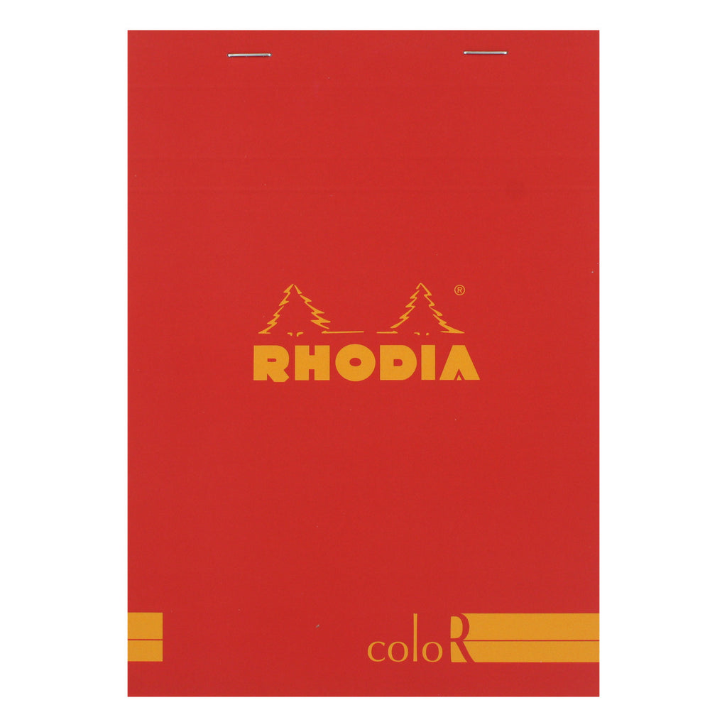 Rhodia Color A5 No. 16 Premium Stapled Lined Notepad, 70 Sheets, 6 x 8 1/4 - Red