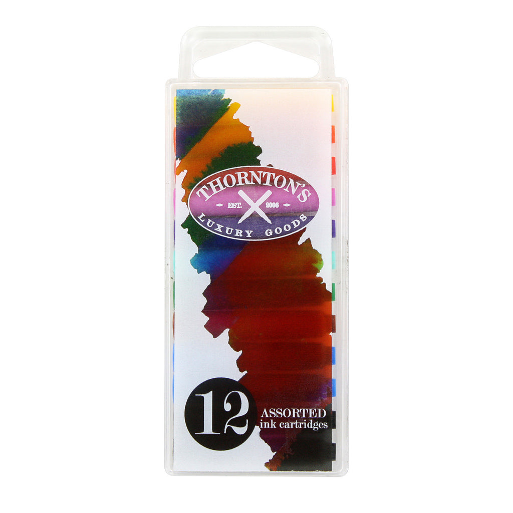 Thornton's Short Standard International Fountain Pen Ink Cartridges, Assorted Ink, Pack of 12