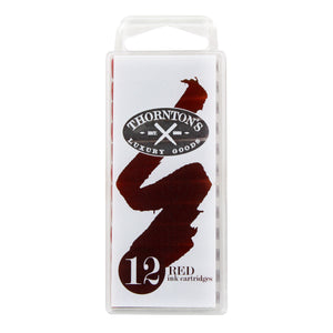 Thornton's Short Standard International Fountain Pen Ink Cartridges, Red Ink, Pack of 12