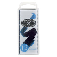 Thornton's Short Standard International Fountain Pen Ink Cartridges, Turquoise Ink, Pack of 12