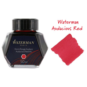 Waterman Audacious Red Fountain Pen Bottled Ink For Fountain Pens next to ink swab of bottled fountain pen ink.