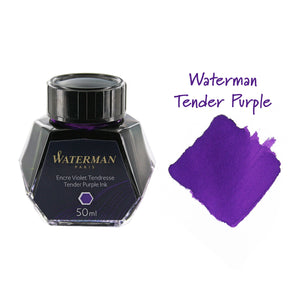 Waterman Tender Purple Fountain Pen Bottled Ink For Fountain Pens next to ink swab of bottled fountain pen ink.