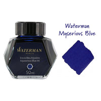 Waterman Mysterious Blue Fountain Pen Bottled Ink For Fountain Pens next to ink swab of bottled fountain pen ink.