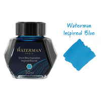 Waterman Inspired Blue Fountain Pen Bottled Ink For Fountain Pens next to ink swab of bottled fountain pen ink.