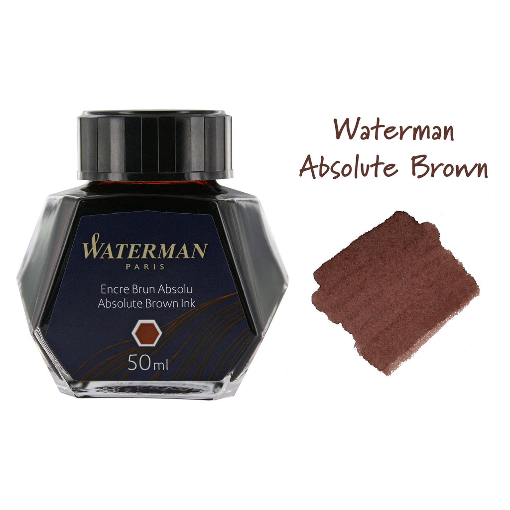 Waterman Absolute Brown Fountain Pen Bottled Ink For Fountain Pens next to ink swab of bottled fountain pen ink.